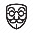 anonymous, book worm, emoticon, glass, hacker, mask icon