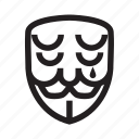 anonymous, cry, emoticon, hacker, mask icon