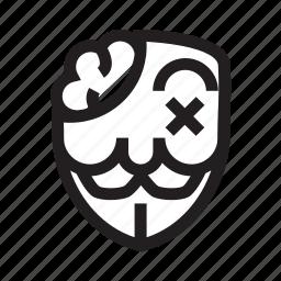 anonymous, emoticon, hacker, mask, sick icon