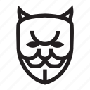 anonymous, bad, devil, emoticon, hacker icon