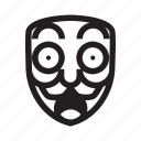 anonymous, emoticon, hacker, mask, shocked icon