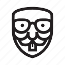 anonymous, bookworm, emoticon, hacker, mask, nerd icon
