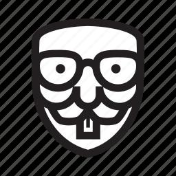 anonymous, bookworm, emoticon, hacker, mask, nerd icon