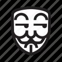 anonymous, emoticon, hacker, mask, suspicious icon