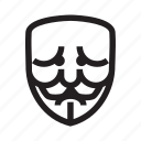 anonymous, confusion, emoticon, mask, sad icon