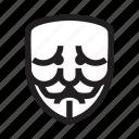 anonymous, confusion, emoticon, mask, sad icon
