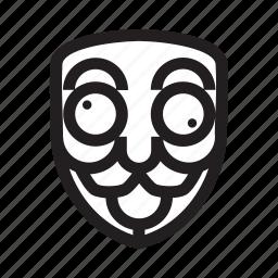 anonymous, crazy, emoticon, hacker, mask icon