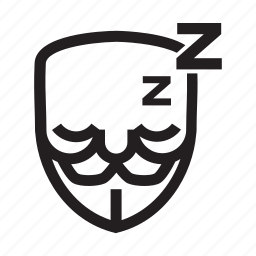 anonymous, emoticon, hacker, mask, night, sleppy icon