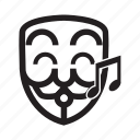 anonymous, emoticon, hacker, happy, singing icon