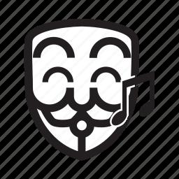 anonymous, emoticon, hacker, happy, singing icon