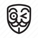 anonymous, emoticon, flirty, hacker, mask icon