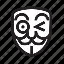 anonymous, emoticon, flirty, hacker, mask icon