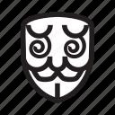 anonymous, confuse, emoticon, hacker, mask icon