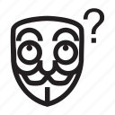 anonymous, ask, confuse, emoticon, hacker, mask icon