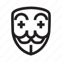 anonymous, confident, emoticon, hacker, mask, positive icon