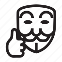 anonymous, emoticon, good job, mask, ok, thumb icon