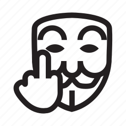 anonymous, emoticon, hacker, mask, middle finger icon