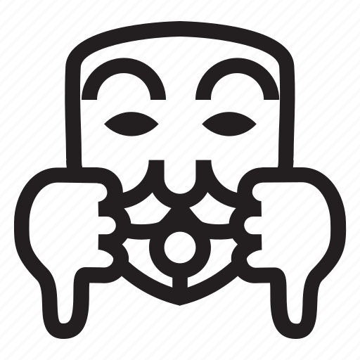 anonymous, emoticon, hacker, jaded, mask, thumb down icon