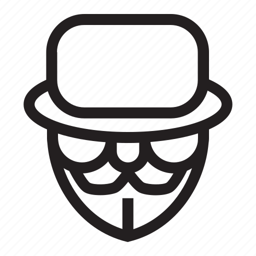 anonymous, emoticon, hat, mafia, mysterious icon