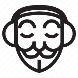 anonymous, emoticon, feel peace, headphone, mask, musik icon