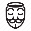 angel, anonymous, emoticon, hacker, mask icon