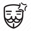 annoyed, anonymous, emoticon, hacker, mask icon