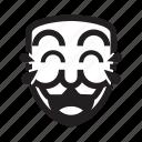 anonymous, emoticon, laugh, lol, mask icon