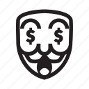 anonymous, dollar, emoticon, hacker, mask, money, success icon