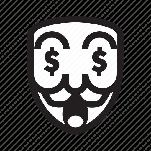 anonymous, dollar, emoticon, hacker, mask, money, success icon
