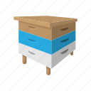 bee, beehive, box, cartoon, hive, wood, wooden icon