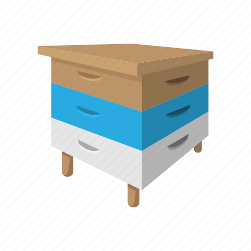 bee, beehive, box, cartoon, hive, wood, wooden icon