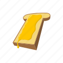 bread, breakfast, cartoon, food, honey, sweet, white icon