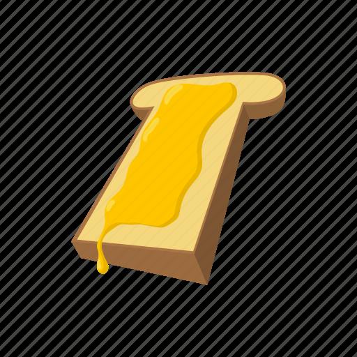 bread, breakfast, cartoon, food, honey, sweet, white icon