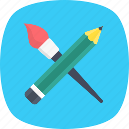 crayon, drawing, paint brush, pencil, stationery icon