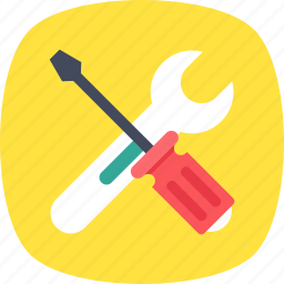 repair tool, screwdriver, spanner, tech support, wrench icon