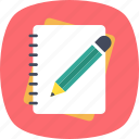 editing, notebook, notes, pencil, writing icon