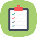 approved list item, checked task list, product list, signed policy, work management icon