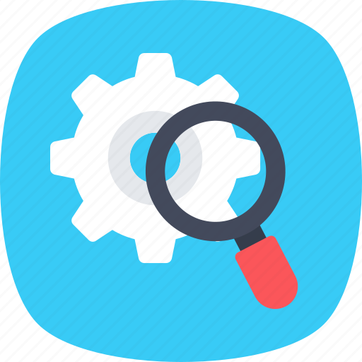 analysis, cog, find solution, magnifier, search setting icon