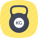 cast steel, kettlebell, kg weight, kilogram, workout icon