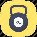 kettlebell, workout, kg weight, cast steel, kilogram icon