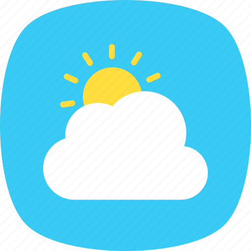 pleasant weather, sun behind cloud, sunny cloudy, weather forecast, weather report icon