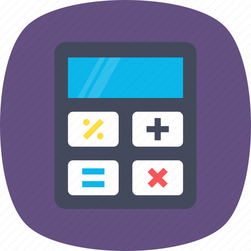 accounting, calculation, calculator, mathematical device, stationery icon