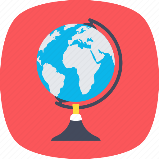 educational globe, geographic science, planet, universe concept, world map icon