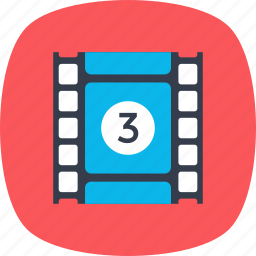 cinematography, film strip with play, film tape, movie clip, video clip icon