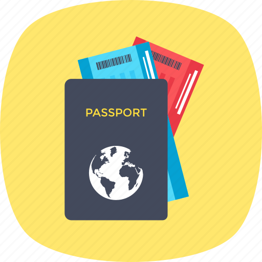 boarding pass, passport, travelling, visa, world trip icon