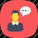 dialogue, representative, spokesman, spokesperson, talk icon