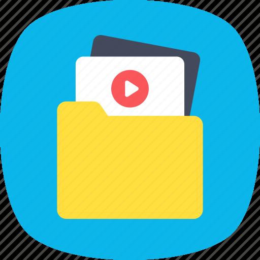 archives, file storage, folder, video file, video folder icon