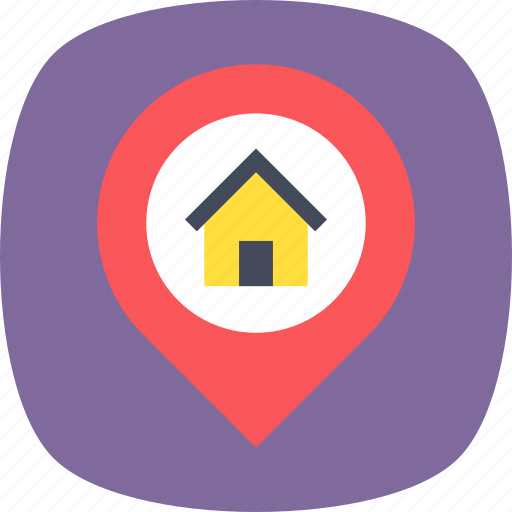 home location, location, location holder, map pin, navigation icon