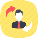 employee referral, employee turnover, rehiring, replacement, retention icon