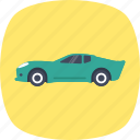 automobile, luxury car, race car, sports car, transport icon
